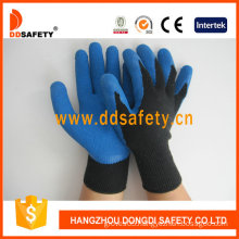 Blue Latex Coating 10 Gague Knitted Gloves. Crinkle Finish (DKL327)