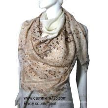 Cashmere Sik Shawl Printed Suqare