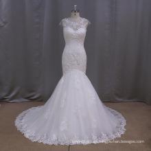 Vestido de novia de sirena de encaje profundo V