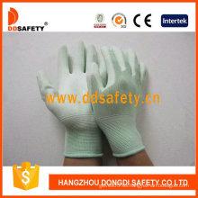 Nylon Liner punto de muñeca verde PU guantes revestidos (DPU165)