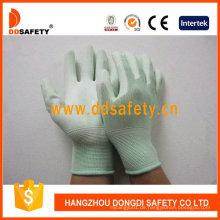 Nylon Liner stricken Handgelenk grün PU beschichtete Handschuhe Dpu165