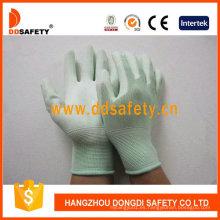 Nylon Liner Knit muñeca verde PU recubierto guantes Dpu165