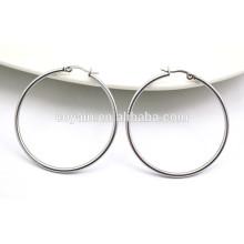 Pendientes de aro de plata extra grandes círculo redondo