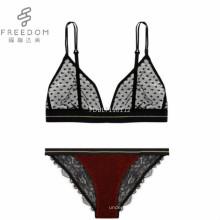FDBL7101112 hot sexy filles indiennes retour personnalisé triangle dentelle élégant transparent 28 taille bralette culotte et soutien-gorge net sexy