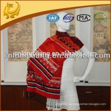 China Fábrica de Pashmina estilo ancho 100% seda Jacquard bufanda y mantón al por mayor para las damas