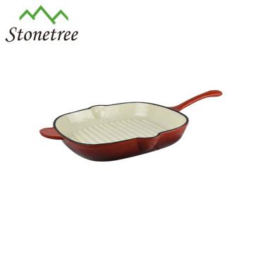 Wholesale New Korean White Enamel Square Cast Iron BBQ Grill Pan