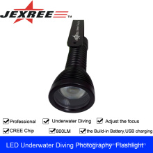 JEXREE CREE XML-T6 Lampe de poche photographique de plongée avec chargeuse usb