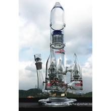 Rocket forma de árbol de brazo de vidrio de gran tubo de agua pipa de fumar Perc Percolator de múltiples tubo de fumar precio al por mayor
