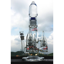 Rocket Shape Arm Tree Grand Glass Water Pipe Smoking Pipe Perc Multi Percolator Smoking Pipe Wholesale Price