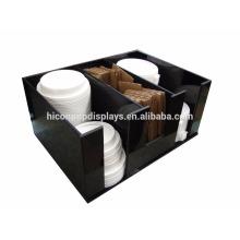 Precio de fábrica libre de diseño encimera de acrílico negro de 3 ranuras de café K-Copa o Candy Cup Display titular