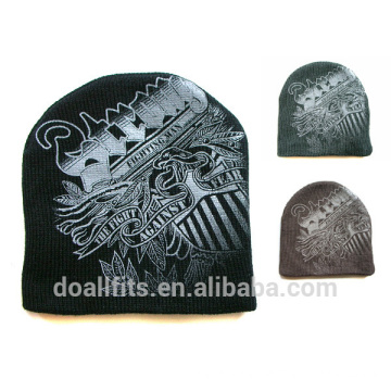 pattern custom knitted beanie high quality with custom logo made in china