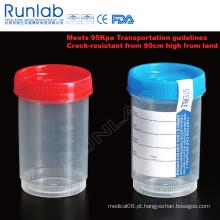 Recipiente de amostra de 4 oz e 120 ml registrado pela FDA com etiqueta de identificação