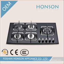 Tempered Glass 5 Burners Built-in Gas Stove Gas Cooker