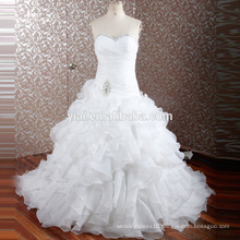 RQ108 Latest Wedding Gowns Designs Hot Sale Sweetheart Neck Ruffle Organza White Ball Gown Wedding Dresses Wholesale
