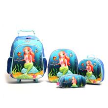 Promotional EVA 3D School Bookbag Set Kids Luggage Trolley Bag With Lunch Bag