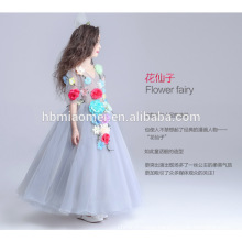 Light grey color floral fairy princess girl dress long design flower decoration new model girl dress 2015 for performance and we