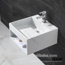 Kkr твердые поверхностные белые ископаемых каменная раковина ванной комнаты