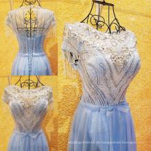 Hochwertiges Luxus, das glänzende Kristallrhinestone-Kappen-Hülsen-Tulle-Abend-Kleid-reale Beispiel-reizvolle sehen, die durch Kleider ML155 sehen
