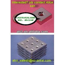 Bloque/imán cuadrado magnético con orificio para tornillo