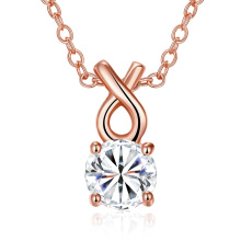 2017 Fashion Gold Round Zircon Pendentif Collier Copper Material Rose Gold Plaated