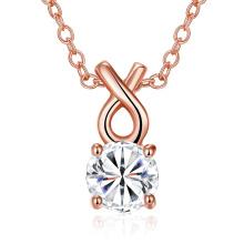 2017 Fashion Gold Round Zircon Pendant Necklace Material de cobre Rose Gold Plated