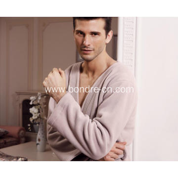 Kimono Men's Fine Plush Fleece Bathrobe