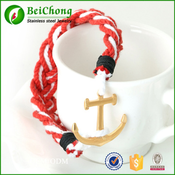 Fashion jewelry 316l stainless steel gold anchor bracelet for men