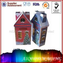 Christmas Tin House Candle Metal Box