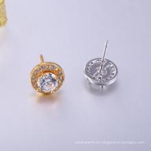 Nuevos diseños redondos de aretes de latón pequeños aretes de oro