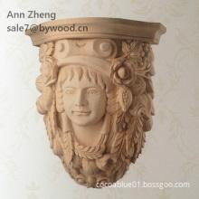 girl head carved  wood corbel