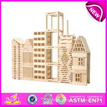 Heißer Verkauf Umweltfreundliche Ungiftige Holzspielzeug Blöcke für Kinder, Holzspielzeug Baustein Spielzeug für Kinder, Holzspiele Set W03b014