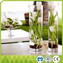 Домашнее украшение Высокие стеклянные вазы Цилиндр формы Цветок стеклянная ваза