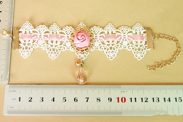 Rose Lace Bracelet With Crystal Beads