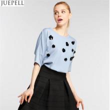 Verano de moda de las nuevas mujeres de bordado de gran tamaño flojo salvaje camisa casual manga quinto manga camiseta