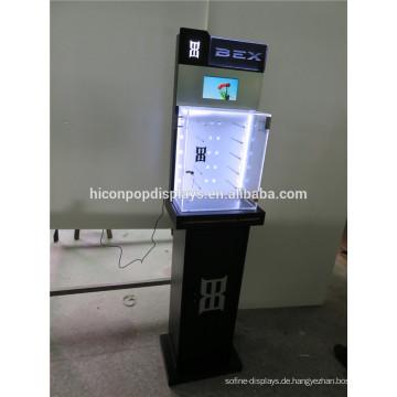 Benutzerdefinierte Holz Stand Gläser Store Boden Standing Sunglass Shop Led Tube Beleuchtung Eisen Brillen Display