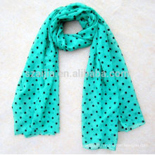 Mode femme 100 polyester dot pattern voile scarf