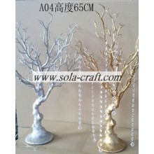 China supplier OEM for Artificial Dry Tree Branch Silver Color Plastic Beaded Garland Wedding tree with 65CM height for decoration export to Lithuania Supplier