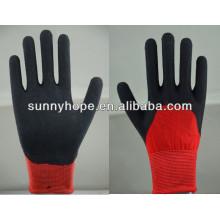 Luvas de látex preto revestidas em nylon vermelho de 13 gauges