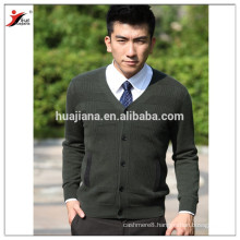 V neck man cashmere knitting sweater cardigan