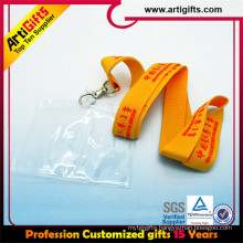 High quality hot sell printed polyester rhinestone lanyard with id badge holder