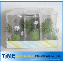 9oz decalque de impressão beber copo de vidro conjunto (TM24007-5)