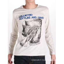 Les hommes à manches longues en coton sérigraphie personnalisé Fashion Tshirt