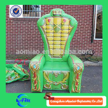 Green color inflatable throne chair