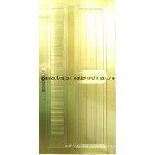 Portes pleines en aluminium de couleur dorée