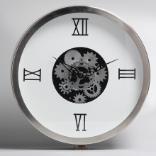 White Metal Wall Clocks with Moving Gears