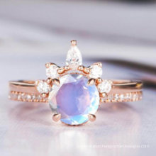 925 Silver Jewelry Vintage Moonstone Couple Rings