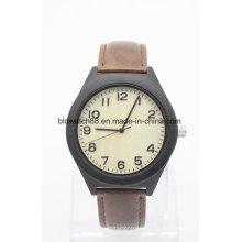 Relógios de madeira de couro do encanto do OEM dos relógios de pulso de couro com seu logotipo