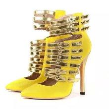 2016yellow hollow high heel beautiful ladies shoes