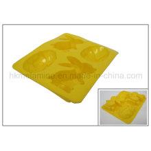 4 células de conejo en forma de molde de torta de silicona (RS25)