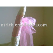 Faixas, faixas de organza, faixas cor de rosa, decoração cadeira sashes